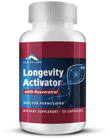 bottle of longevity activator anti-aging supplement by zenith labs