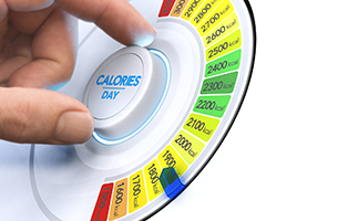 hand turning dial to reduce calories per day