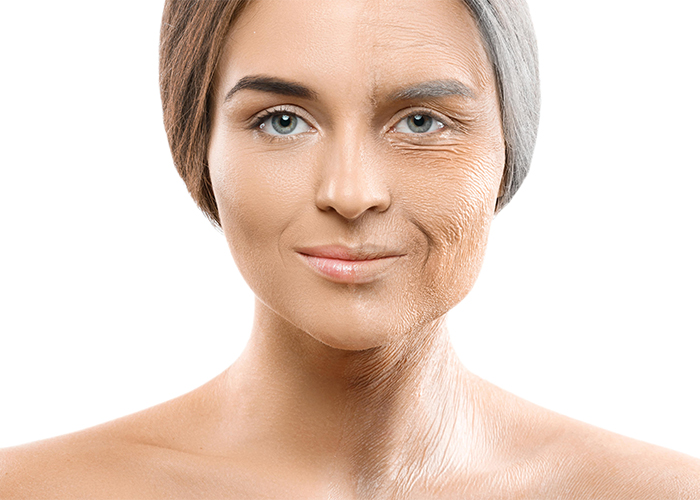 young and old women's skin comparision