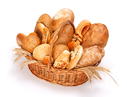different type of breads made with refined grain in a basket
