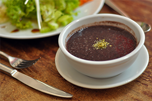 bowl of black bean soup