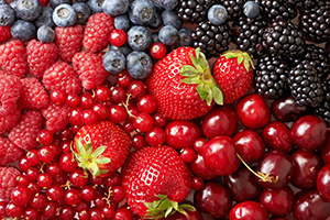 different types of berries such as blackberries, blueberries, raspberries, strawberries etc.