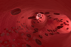 graphic of red blood cells flowing through a vein