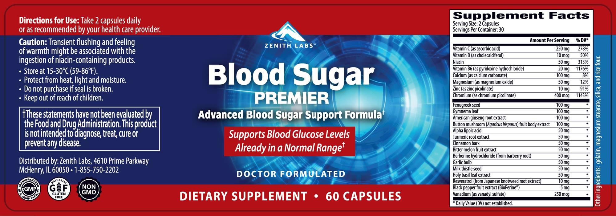 Blood Sugar Premier Label