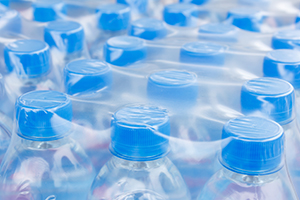 a flat of bottled water