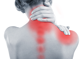 greyscale image of a woman's back, with her neck, shoulder and spine highlight in red to show chronic inflammation