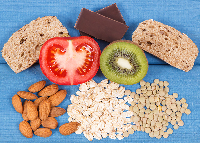 balanced foods like nuts, seeds, fruits, and vegetables