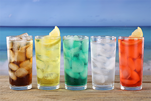 tall colorful glasses of iced drinks