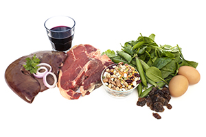 iron-rich foods like spinach, eggs, red meat, and liver