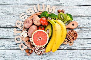 foods containing natural potassium such as bananas, broccoli, kiwi, walnuts and grapefruit