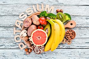 foods containing natural potassium such as bananas, broccoli, kiwi, walnuts and grapefruit
