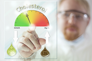 scientist pointing at a graphic that measures good cholesterol