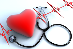 graphic with a heart, pulse line, and stethoscope