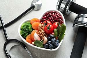 heart-healthy diet with fruits and vegetables