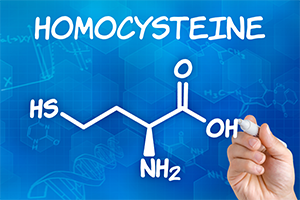 graphic of a person drawing out the chemical makeup of homocysteine