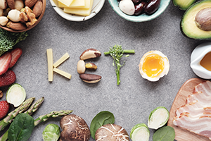 keto spelt out with foods and other keto foods surrounding it