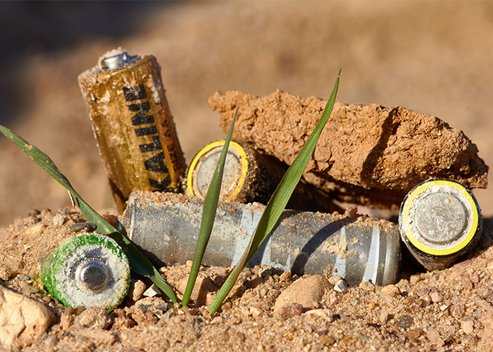 batteries in the dirt