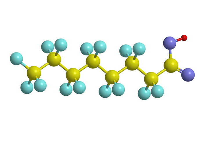 molecular structure of Perfluorooctanoic acid (PFOA)