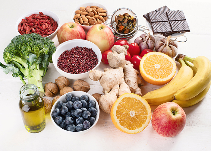array of foods high in antioxidants