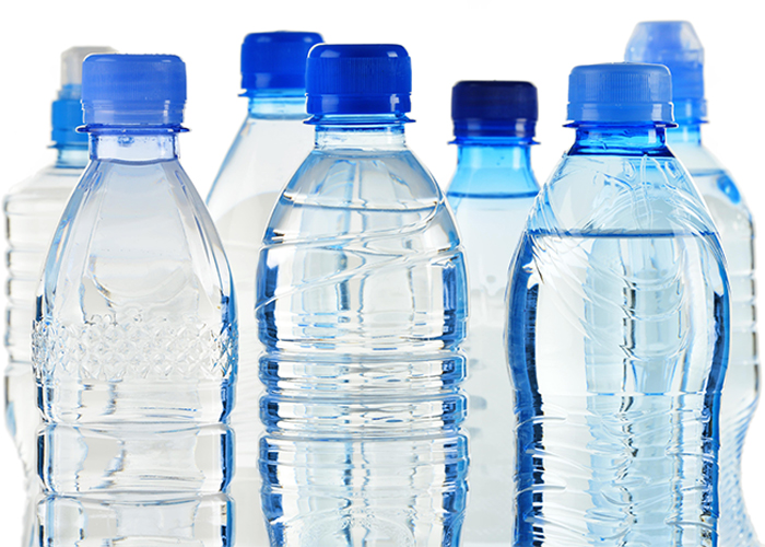 plastic water bottles containing BPA