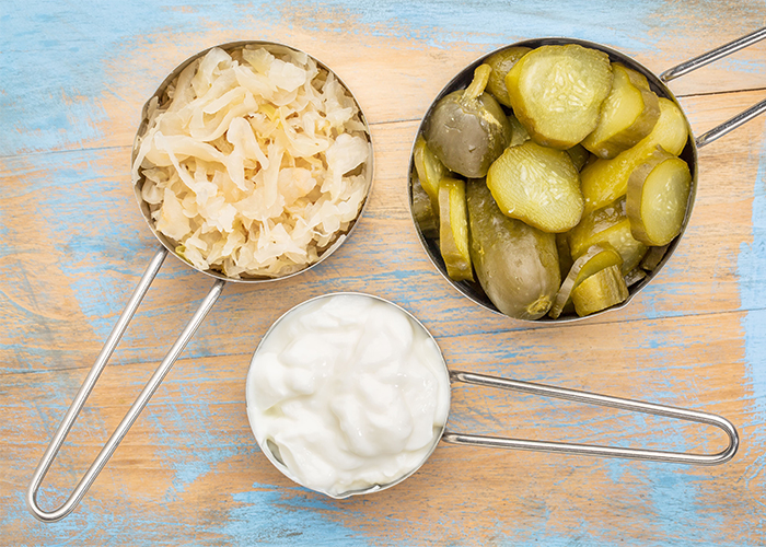 healthy probiotics sauerkraut pickles yogurt