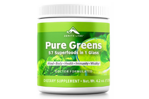 bottle of pure greens superfoods supplement by zenith labs