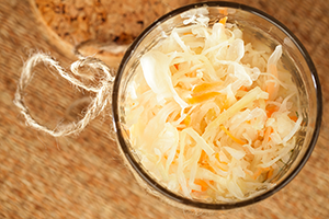top down view of a jar of sauerkraut