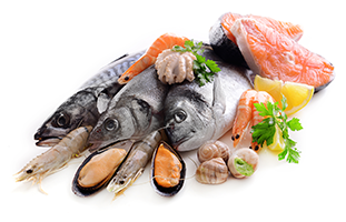 different types of seafood such as fish, mussels, shrimp, and salmon on a white surface