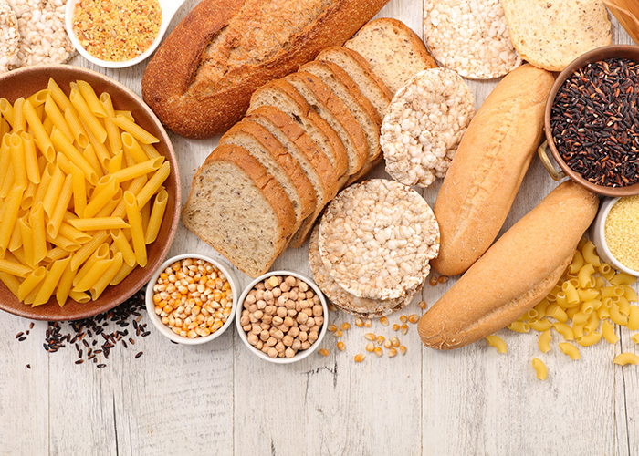 breads, pastas, rice, and other foods with gluten