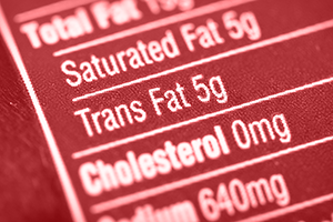nutritional content label of food with a close up on trans fat and saturated fat amounts