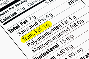 nutritional label focused on trans fats