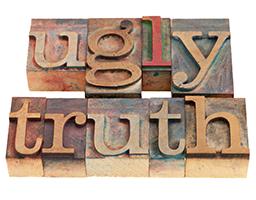 ugly truth in letterpress type on wooden blocks