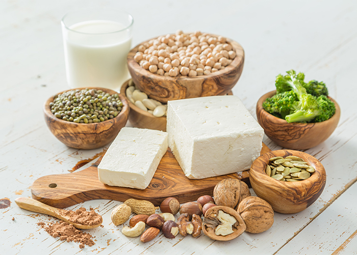 vegan protein sources like tofu, beans, and nuts
