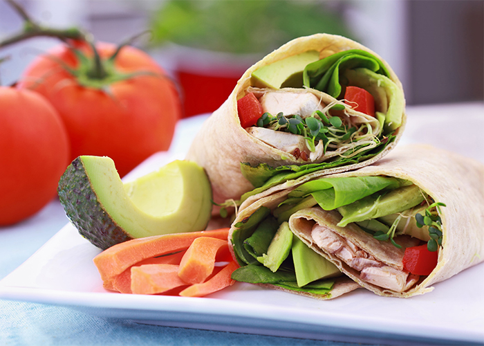 vegan wrap with avocado and carrots